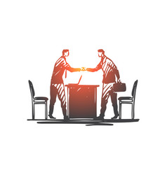 business partner handshake suit deal vector image