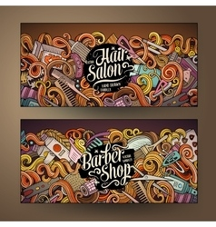 Cartoon cute doodles Hair salon banners vector image
