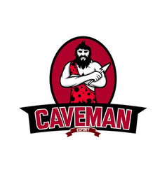 caveman mascot logo for e sports team vector image