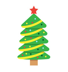 christmas tree flat icon new year and christmas vector image