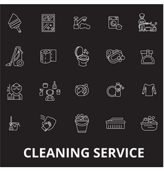 cleaning service editable line icons set on vector image