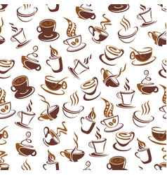 coffee cup with bean seamless pattern background vector image