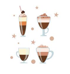 coffee drinks cappuccino mocha vector image