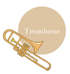 Colored trombone in hand-drawn style vector