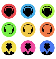 colorful icons of call center and operator in vector image