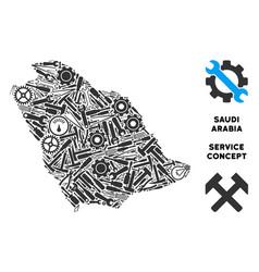 Composition saudi arabia map of service tools vector