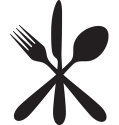crossed knife fork and spoon vector image