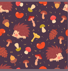 Cute hedgehogs and mushrooms seamless pattern vector
