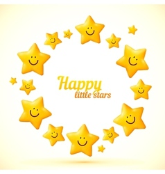 Cute little smiling stars frame vector image