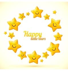Cute little smiling stars frame vector