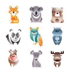 Different colorful animals set geometric flat vector