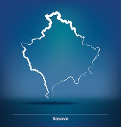 Doodle Map of Kosovo vector