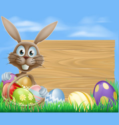Easter eggs basket rabbit vector