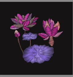 Embroidery floral pattern with lotus and leaves vector