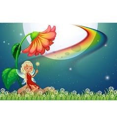 Fairy and flower vector