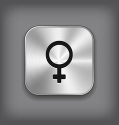 Female icon - metal app button vector image