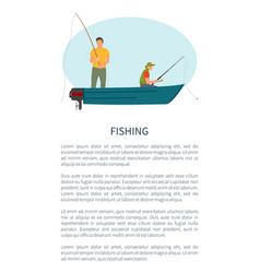 Fishing man in motorboat with rod or tackle poster vector
