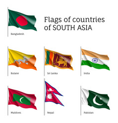 Flags of south asian countries vector