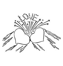 flaming hearts vector image