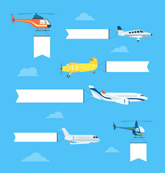Flat airplanes set vector