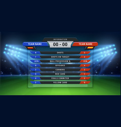 Football scoreboard soccer cup statistics of vector