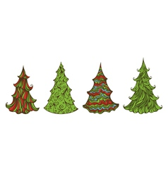 Four spruces isolated on white background vector image