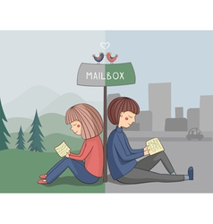 Girl and boy read mail vector image