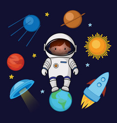 Girl spaceman in space rocket ufo planets stars vector