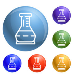 glass flask icons set vector image