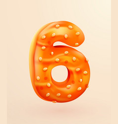 Glazed donut font number 6 number six cake vector