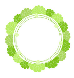 green doodle circle flower frame isolated on vector image