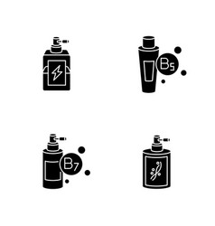 hair oils black glyph icons set on white space vector image
