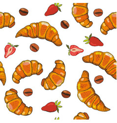 Hand drawn seamless pattern croissants berry vector