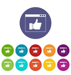 Hand with thumb up in browser set icons vector image