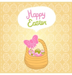 Happy Easter background with cartoon cute basket vector image