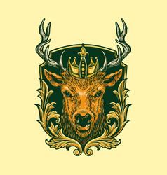 head deer logo classic vector image
