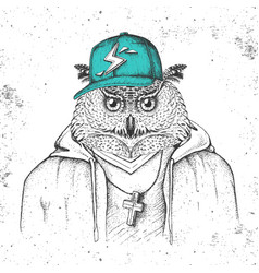 Hipster bird owl dressed in cap like rapper vector