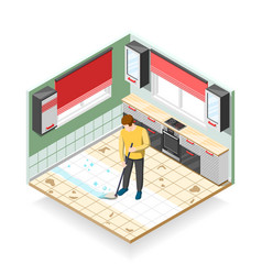 home cleaner isometric composition vector image