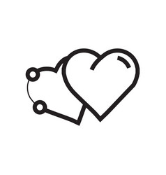 Icon two heart pen tool style vector