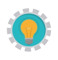 Image with bulb light in toothed circle vector