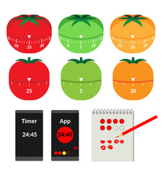 Items for describing pomodoro technique vector