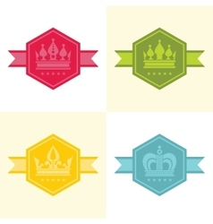 Light crown icons in color vector image