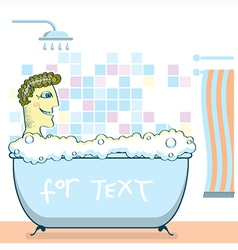 man taking a shower in a bathroom vector image