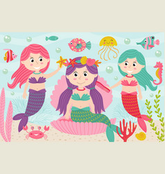 mermaids comb and decorate their hair underwater vector image