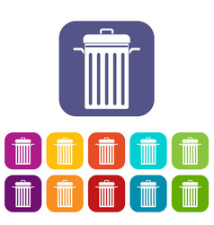 Metal trash can icons set flat vector
