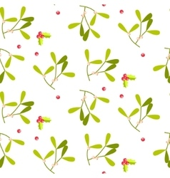 Mistletoe leaves seamless pattern vector image