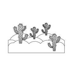 Monochrome silhouette of landscape of desert with vector