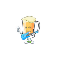 Mug beer alcohol in with guitar cartoon vector