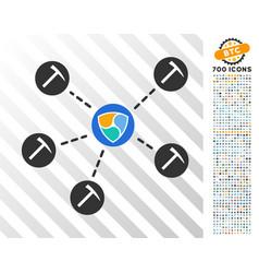 nem mining network flat icon with bonus vector image