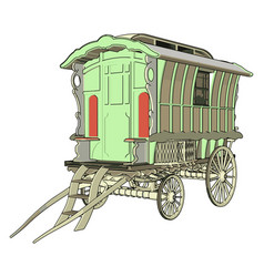 Old green carriage on white background vector